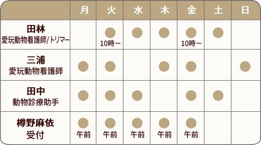 スタッフシフト表